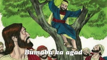 """Pagdating ni Jesus sa lugar na iyon, tumingala siya at sinabi, """"Zaqueo, bumaba ka agad, dahil kailangan kong tumuloy sa bahay mo ngayon."""" Kaya nagmadaling bumaba si Zaqueo at masayang tinanggap si Jesus."""