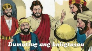 """Sinabi sa kanya ni Jesus, """"Dumating na ngayon ang kaligtasan sa tahanang ito, dahil siya ay galing din sa lahi ni Abraham. Sapagkat ako na Anak ng Tao ay naparito upang hanapin at iligtas ang naliligaw."""""""