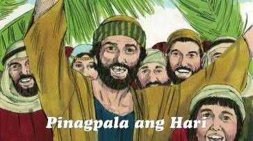 """Sinabi nila, """"Pinagpala ng Panginoon ang Haring kanyang ipinadala. Mayroon na tayong magandang relasyon sa Dios. Purihin ang Dios sa langit!"""" Sinabi sa kanya ng ilang Pariseong kasama ng karamihan, """"Guro, sawayin mo ang mga tagasunod mo."""" Pero sinagot sila ni Jesus, """"Sinasabi ko sa inyo: kung tatahimik sila, ang mga bato na ang sisigaw ng papuri."""""""