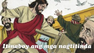 Pagdating nila sa Jerusalem, pumunta si Jesus sa templo at itinaboy niya ang ang mga nagtitinda roon.